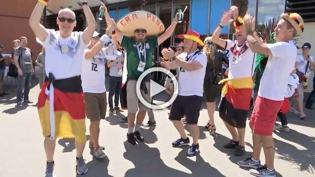 Mexicanske og tyske fans fester indenkampen