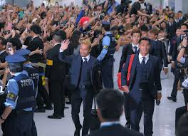 Det japanske landshold ankommer ilufthavnen